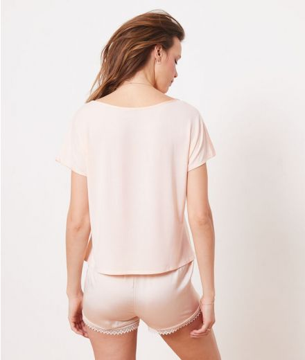 Top satine manches courtes Pink