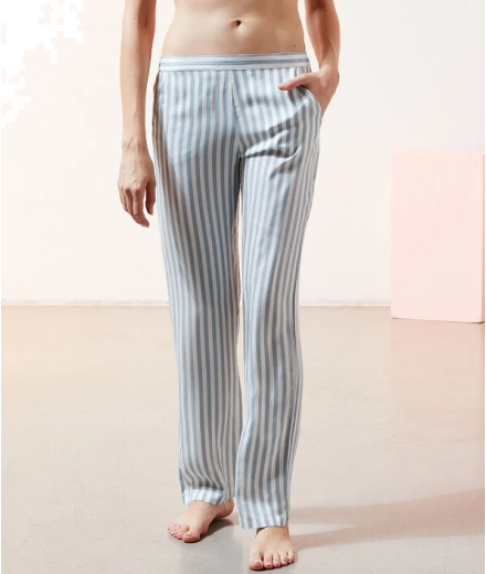 JUDY Satin striped trousers