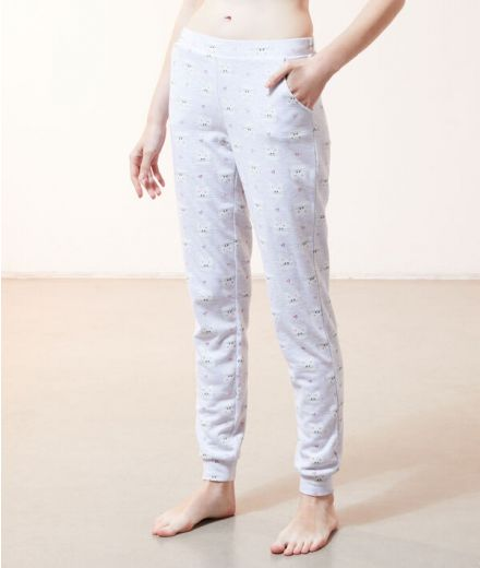 Cat print Trousers Grey