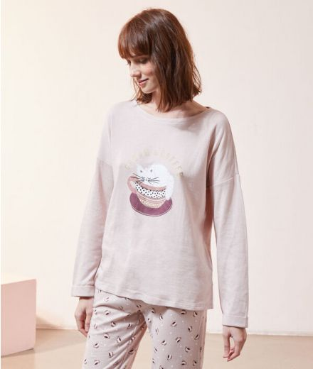 Cream and coffee' t-shirt in print Pink