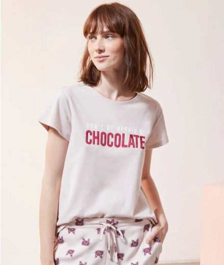 Don't be afraid of chocolate' t-shirt Pink