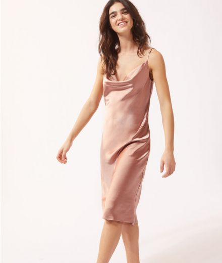 Pink mid-length satin night dress