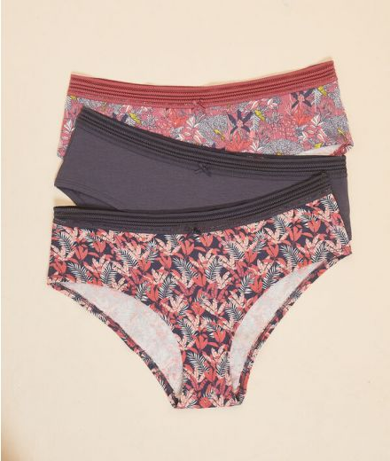 MANDY Pack of 3 printed cotton shorties