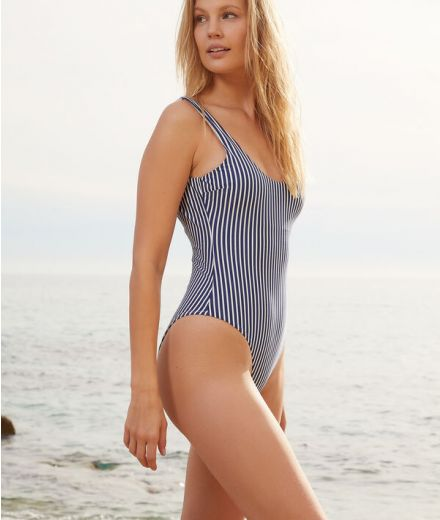 HAPPY Non-wired one-piece striped swimsuit