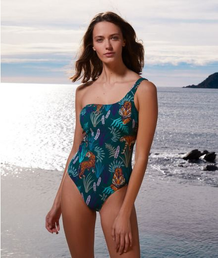 AMOUR Asymmetrical one-piece print swimsuit
