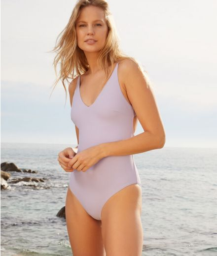 AMANDA Cross-back one-piece swimsuit with multiple strings