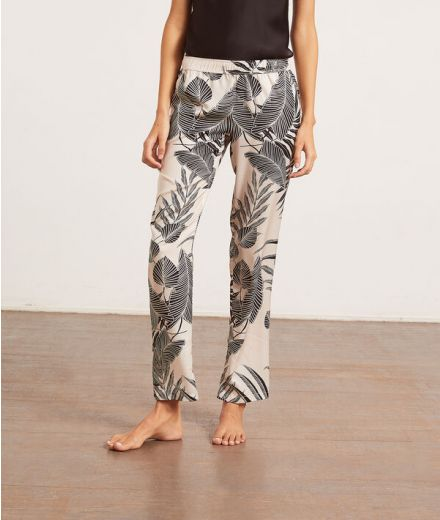 Satin trousers with leaf print