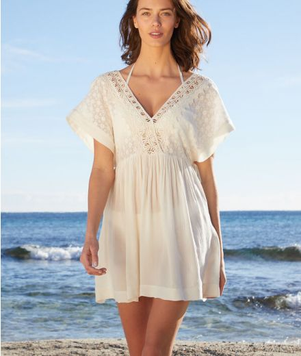 DAVON Beach tunic with lace details