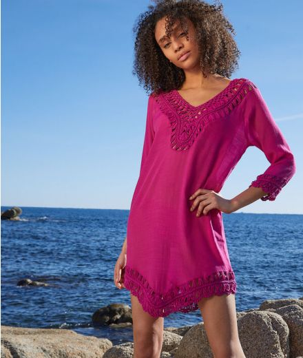 FLORE Beach coverup tunic with openwork details
