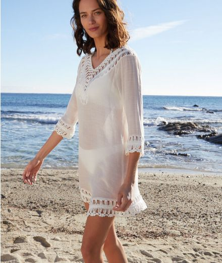 FLORE Beach tunic with openwork details