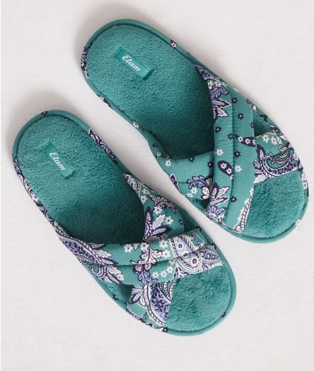 BASSANA Print open mule slippers with bow