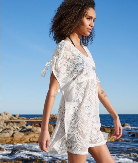 MOON Leaf pattern embroidered beach tunic