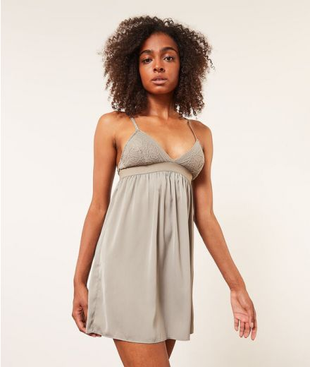 COCOONING Nightdress with lace neckline