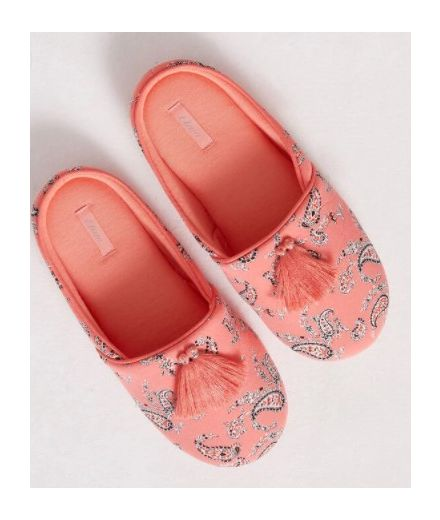 BAYRONNE Printed mule slippers with pompom